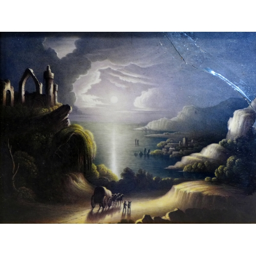 379 - A late 19th/early 20th century painting on porcelain depicting a coastal scene at night, signed Stee...