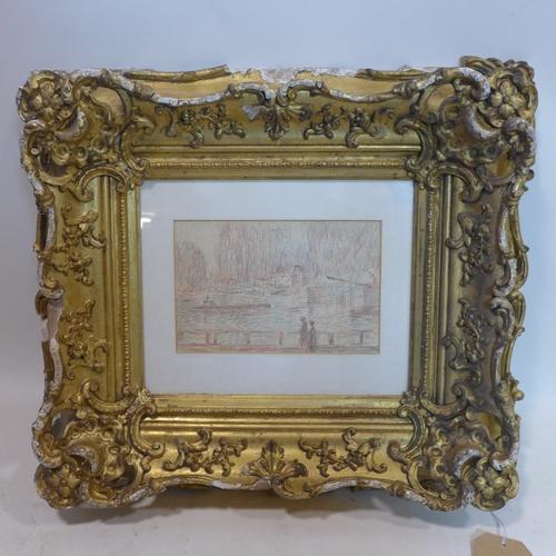 381 - Charles Horwood (British 1907-1975), 'Riverside', pastel, in ornate giltwood frame, 15 x 22cm...