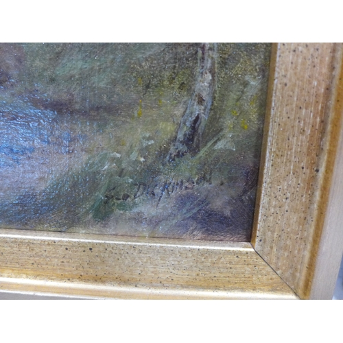 383 - A pair of oils on board signed G. Dickenson, in gilt frames, 29 x 19cm...
