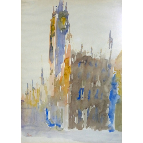 401 - A 20th century watercolour of Gdansk cathedral, signed, 58 x 42cm...
