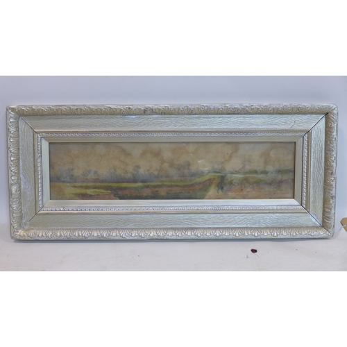 409 - Late 19th century school, Rural Landscape, watercolour, in silve/gilt painted frame, 15 x 62cm...