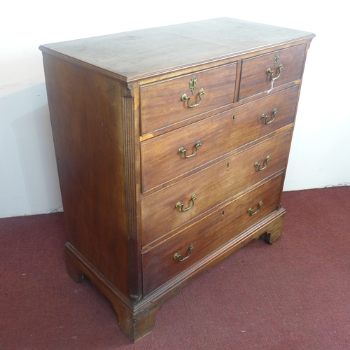 221 - A 19th century mahogany chest of two short over three long drawers, on bracket feet, H.106 W.97 D.49...