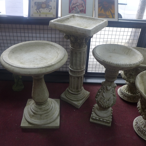 230 - Three reconstituted stone bird baths,H.19 W.44 D.16cm; H.76cm Diameter 55cm; and H.78cm Diameter 40c...