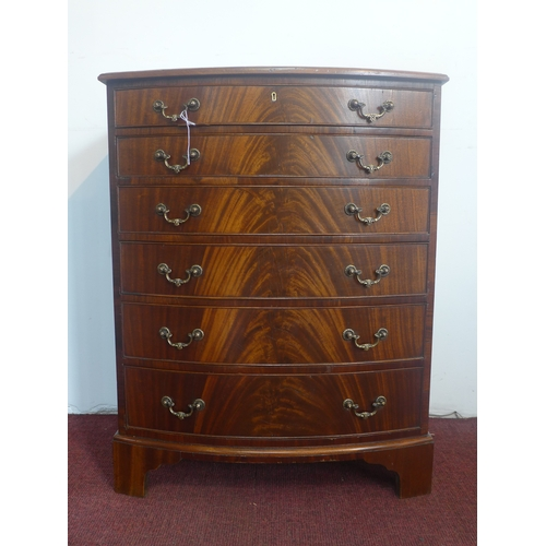 236 - A figured mahogany bow fronted chest of 6 graduated drawers, on bracket feet, H.82 W.64 D.44cm...