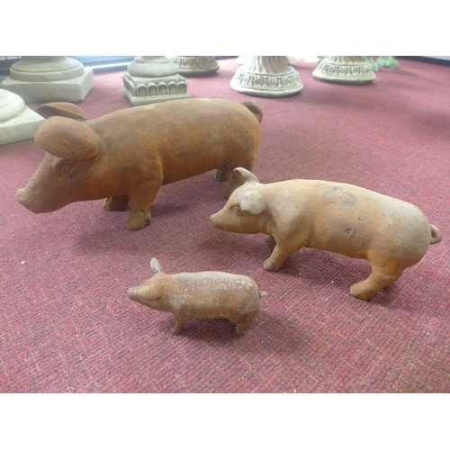 255 - Three cast iron pigs of graduating size, to include one large, H.19 W.44 D.16cm, one medium, H.12 W....