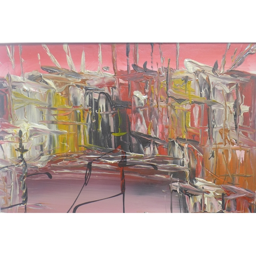 348 - An abstract oil on board in pink, red, yellow, white and black, framed, 50 x 75cm...