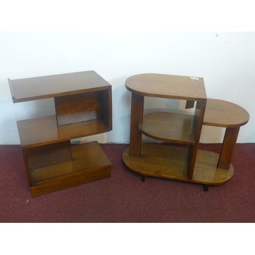 364 - An Art Deco oak tiered shelving unit, H.56 W.66 D.31cm, together with an oak three tiered shelving u...