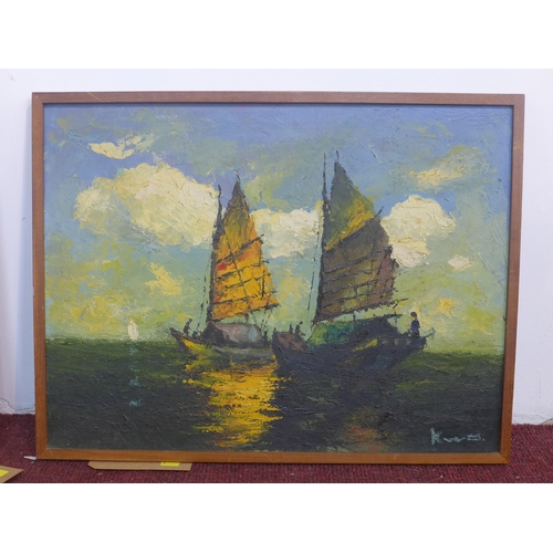 139 - A framed mid-20th century impasto oil on canvas of sailing boats, indistinctly signed bottom right, ...
