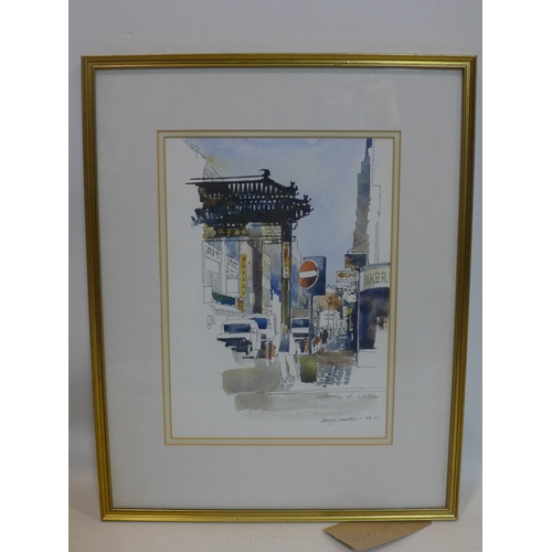 144 - Darcy L. Mackie, British, A framed and glazed watercolour and ink study of Gerrard Street, London, 1...