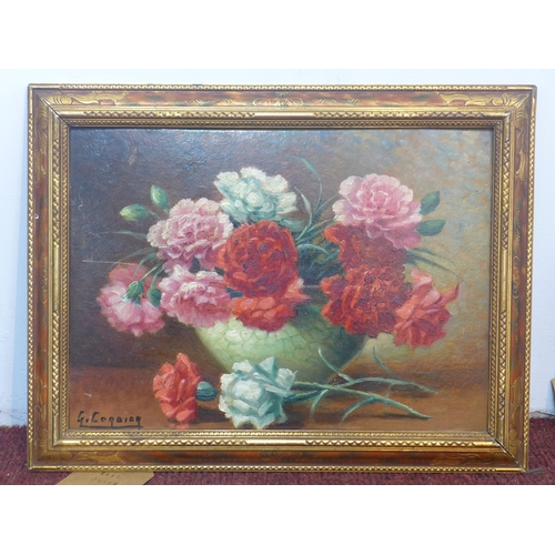 154 - G. Corbier, French, a gilt-framed early 20th century, oil on board of a still life of roses, signed ...