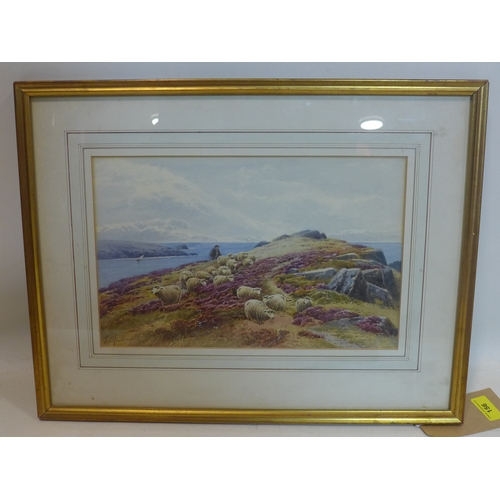 156 - Tom Rowden, (British, 1842 - 1926) A framed and glazed watercolour of a farmer herding sheep by the ...