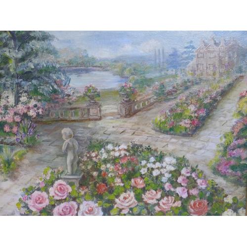 168 - Jean Marie Le Guen, French, an oil on board of a country house garden entitled, 'Le Jardin du Poete ...