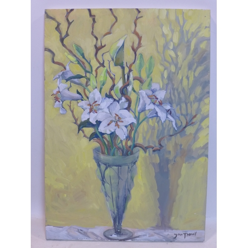 185 - Jane Trevail (contemporary) A large oil on canvas of a still life of lillies in vase on yellow groun...