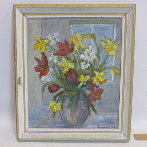 189 - A framed mid-20th century oil on canvas of a still life arrangement of daffodils and red tulips, sig...