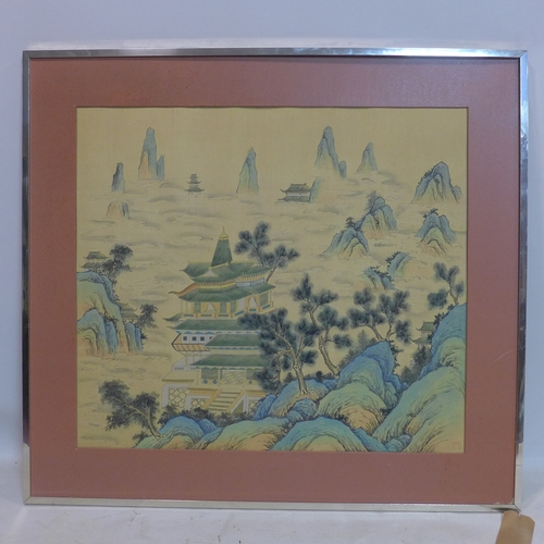 215 - A Chinese painting on paper depicting houses in a mountainous landscape, bearing stamp mark to lower...