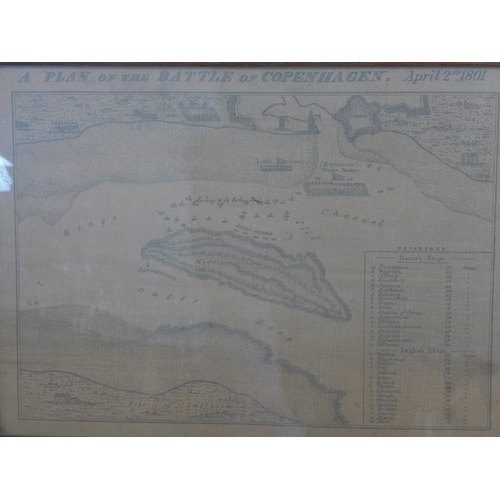 246 - A pair of prints on linen of 'A Plan of the Battle of Copenhagen, April 2nd 1801', and 'A Plan of At...