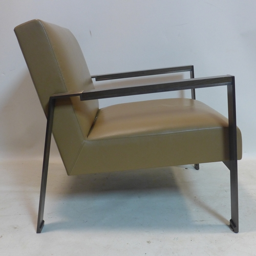264 - A pair of leather and cast metal chairs by Holly Hunt USA, label to bases (2)...