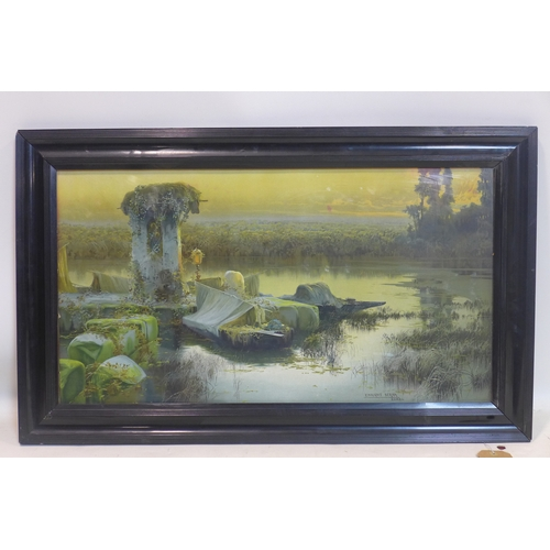 271 - A large colour print of a painting by Enrique Serra, Roma, depicting a boat by marshes in an ebonise...