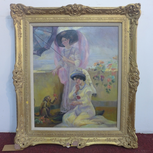 38 - Ben Lister, British, A gilt framed oil on canvas depicting two ladies in 19th century dress on a sun...
