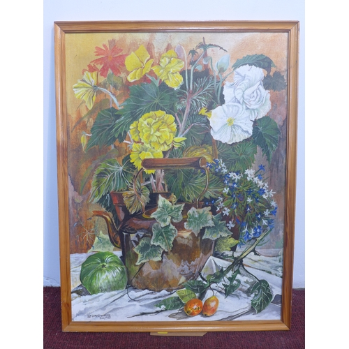 54 - David White, British, A framed oil on board of a still life composition depicting a copper kettle am...