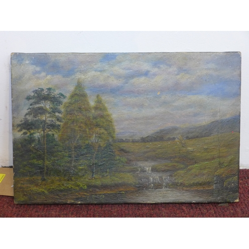 63 - An early 20th century oil on canvas of a river landscape with grazing sheep, unsigned, 20 x 30cm...