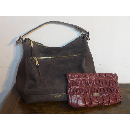 21 - An Osprey, London chocolate brown leather and suede shoulder bag with brown leather handle 34 x 44cm...
