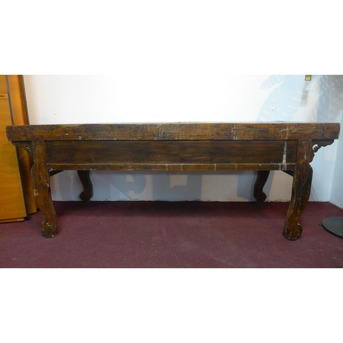 231 - **Withdrawn**A 19th century Chinese hardwood altar table, scrolling floral carving to front panel, w...