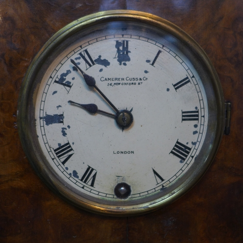 240 - A Camerer Cuss & Co. walnut mantle clock, the painted dial with Roman numerals, signed to dial, labe...