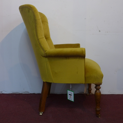 287 - A pair of contemporary armchairs with gold velvet button back upholstery, H.98cm (2)...