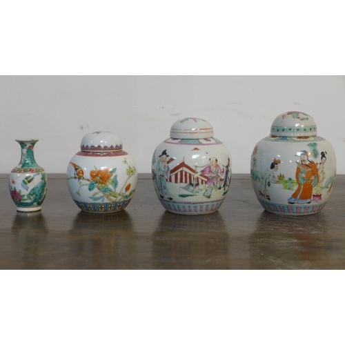 332 - Three Chinese porcelain and hand-enamelled ginger jars, H: 12cm, 12cm and 10cm with a miniature vase...