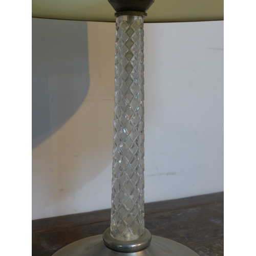 56 - A vintage, chromed table lamp having a cut-glass stem with shade, H: 40cm (without shade), base dia:...