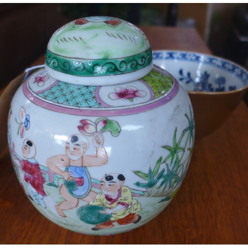 146 - Two 19th century, Chinese items to include a famille rose ginger jar and cover H: 14cm with a porcel...