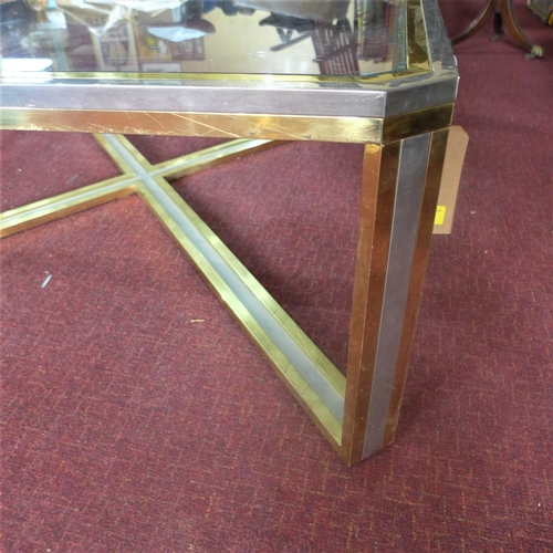 23 - A large, 1970's Italian coffee table by Romeo Rega in gilt metal and chrome with glass top, H: 45cm ...