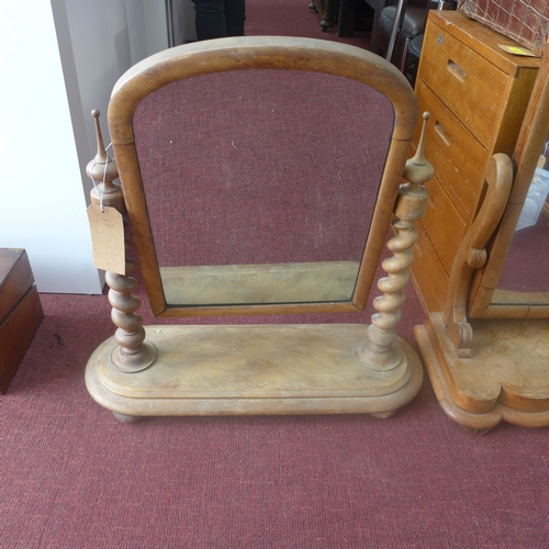 299 - Two 19th century, oak dressing table mirrors one having barley-twist supports, 69 x 68cm and 78 x 64...