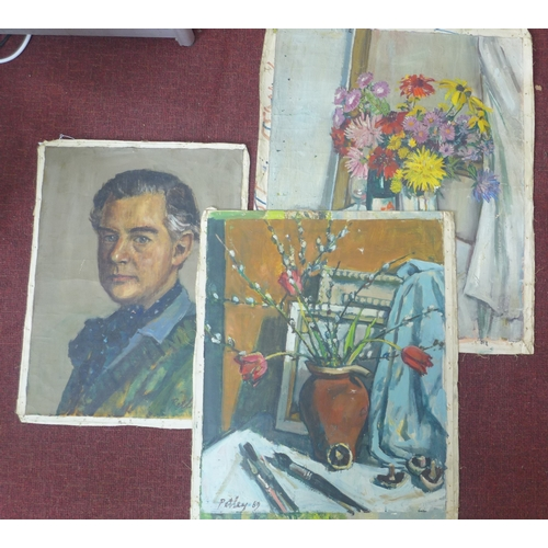 368 - Llewellyn Petley-Jones (1908-1986), 3 unframed loose oil on canvases, including one of a gentleman d...