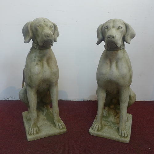 121 - Two reconstituted stone seated hunting dogs, H.72cm (2)...