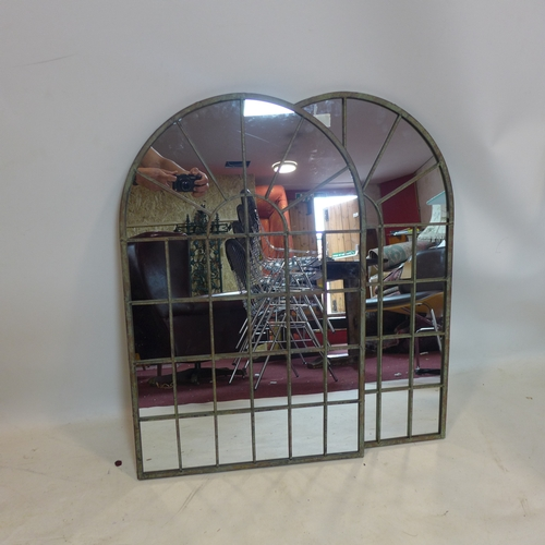 283 - A pair of arched garden mirrors, 77 x 49cm...