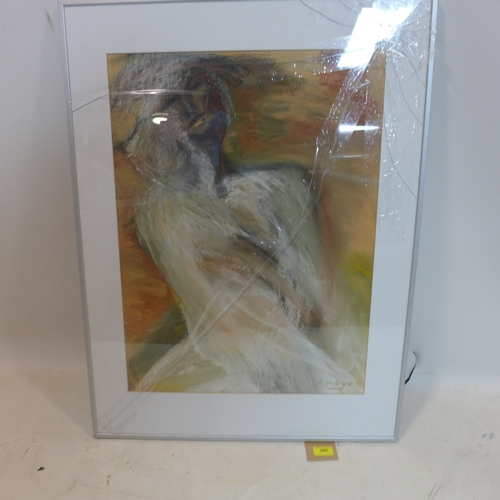 395 - Max Meyer, A framed 20th century, mixed media of a femme fatal, signed lower right, 61 x 45cm...