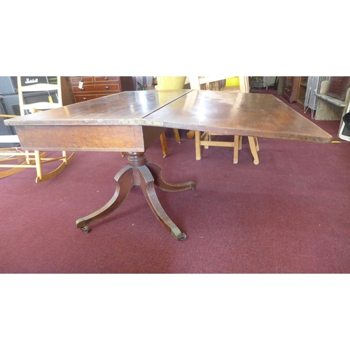 346 - A 19th century card table, on reeded quadriform base and castors, H.73 W.112cm...