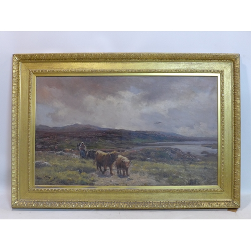 106 - Thomas Lorraine Hunt (American, 1882-1938), cattle in a landscape scene, oil on canvas, 75 x 125cm, ...
