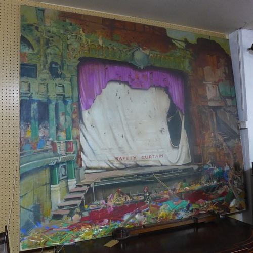 22 - Dick French b.1946, large theatrical oil on canvas, signed and dated '75 to verso, 184 x 212cm...
