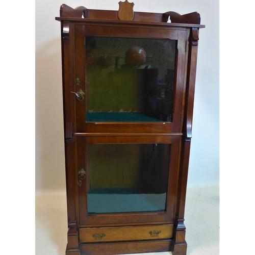 107 - An Arts & Crafts mahogany trophy display cabinet, H.150 W.73 D.42cm...