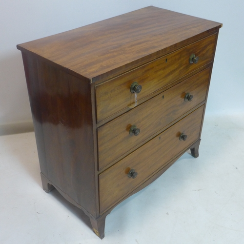 151 - A 19th century mahogany chest of 3 drawers, raised on splayed feet, H.89 W.92 D.49cm...