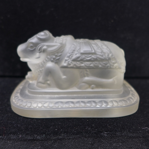 149 - A Rene Lalique frosted glass Sacred Bull paperweight, made for Rotterdam Lloyd, Royal Dutch Mall, ma...