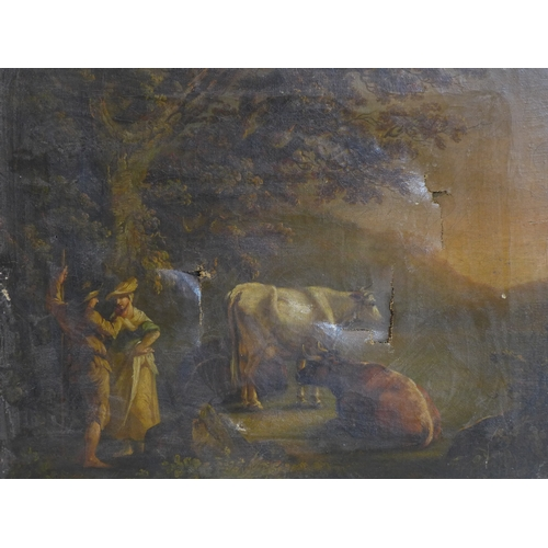 10 - An 18th century oil on canvas, rural scene, damaged, in gilt frame, 36 x 45cm...