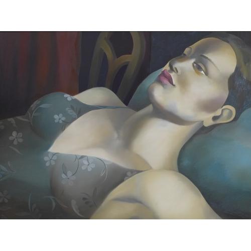 101 - Rachel Deacon, study of a lady, oil on canvas, 60 x 75cm...