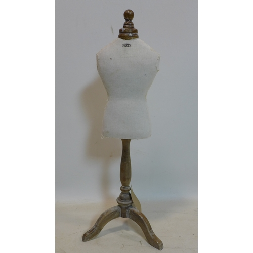 255 - A French dress dummy, H.78cm...