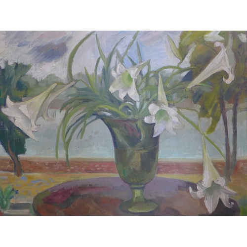 100 - Edna Ginesi, RA, (Italian, 1902-2000) A large, 20th century oil on canvas of a still life of lilies ...