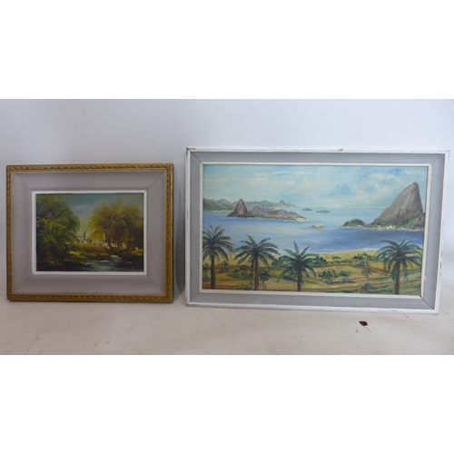 57 - Two oil on boards; one depicting a seascape, indistinctly signed and dated '65 to lower right, inscr...
