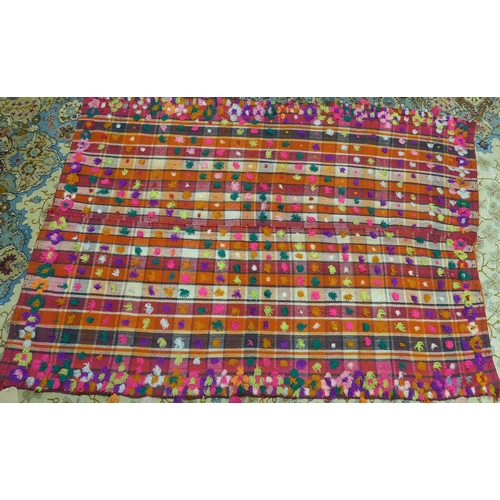 14 - A Moroccan rug, with stiped design and multi coloured pom poms, 192 x 140cm...